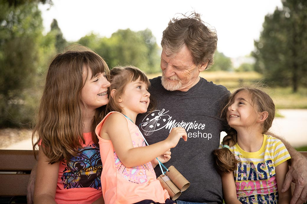 Jack Phillips and his granddaughters