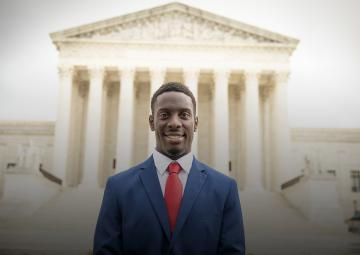 ADF client Chike Uzuegbunam at the U.S. Supreme Court
