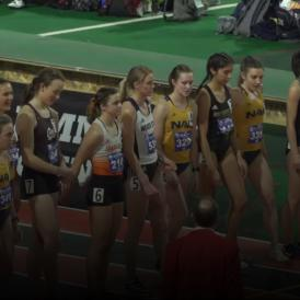 Athletes stand at the starting line for the mile race at the Big Sky Conference Championships